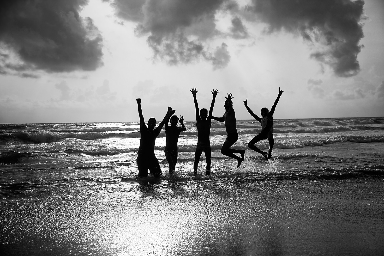 People happy on a beach